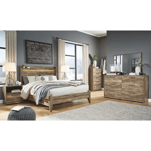 Rusthaven- Brown- Dresser, Mirror, Chest, Nightstand & Queen Panel Bed