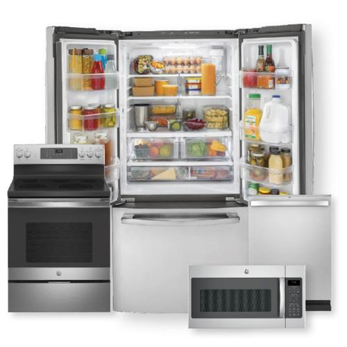 18.6 Cu. Ft. Counter-Depth French-Door Refrigerator & Free-Standing Electric Convection Range Package