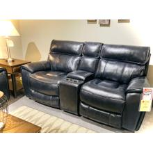 POWER RECLINING LOVESEAT W/CONSOLE in Navy Leather/Vinyl      (WARE-5781)