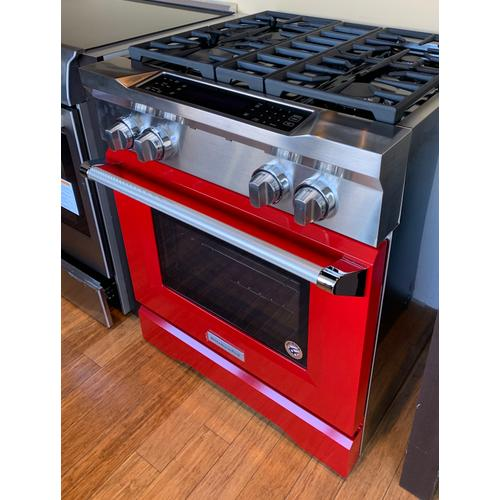 KitchenAid KDRS407VSD     30'' 4-Burner Dual Fuel Freestanding Range, Commercial-Style Signature Red