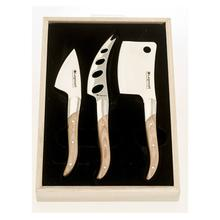 Legnoart Stainless Steel Reggio Cheese Knife 3-Pc Set with Light Wood Handle