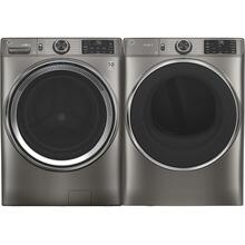 See Details - GE 4.8 Cubic Foot Front Load Laundry Set in Satin Nickel