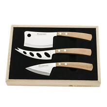 Legnoart Stainless Steel Latte Vivo Cheese Knife 3-Pc Set, Light Wood Handle in Wooden Crate