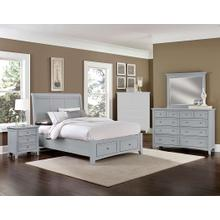King Gray 4 PC Bedroom Set - Sleigh Bed with Storage Footboard