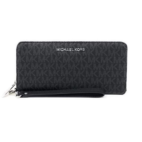 MICHAEL KORS Jet Set Travel Continental PVC Signature Zip Wristlet Wallet
