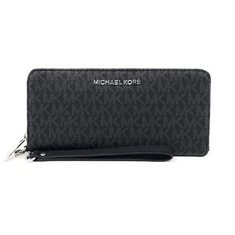 View Product - MICHAEL KORS Jet Set Travel Continental PVC Signature Zip Wristlet Wallet