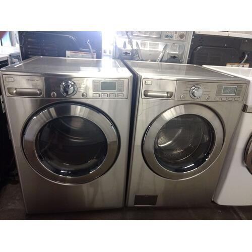 Refurbished Silver LG Front Load Washer Dryer Set Please call store if you would like additional pictures. This set carries our 6 month warranty, MANUFACTURER WARRANTY AND REBATES ARE NOT VALID (Sold only as a set)