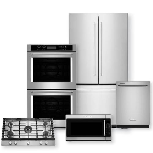 "KITCHENAID 20 Cu. Ft. Counter-Depth French Door Refrigerator & 30"" Double Wall Oven with Even-Heat True Convection Package"