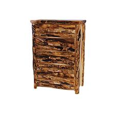 5 Drawer Chest Log Front Natural Panel Gnarly Log