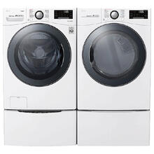 LG Smart wi-fi Enabled 4.5 cu.ft Front Load Washer with TurboWash & 7.4 cu.ft Electric Dryer with TurboSteam w/ Pedestals - White