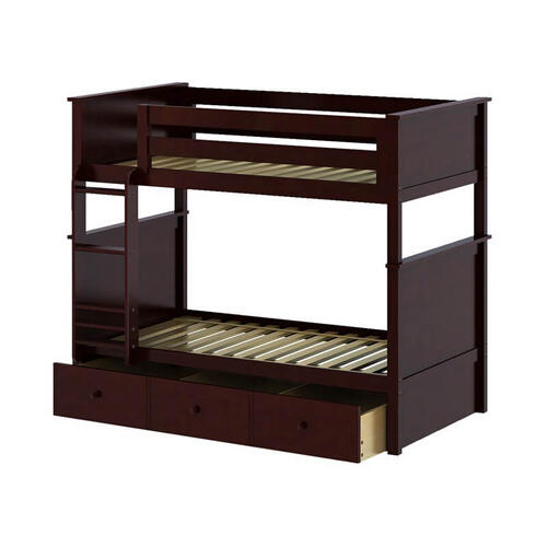 Jackpot Bristol Twin/Twin Bunk   Trundle Storage In Cherry Finish