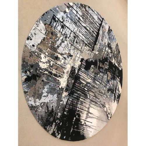 Abstract 8' Round Hand Knotted