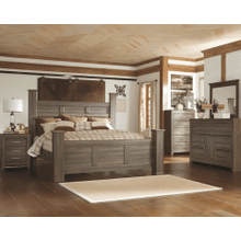Juararo- Dark Brown- 7Pc.- Dresser, Mirror, Chest, Nightstand & King Poster Bed