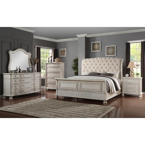 King Sleigh Bed, Dresser, Mirror, Chest and Nightstand