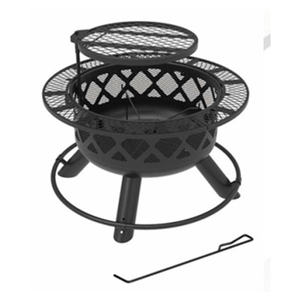 """Big Horn, 24"""", Ranch Fire Pit, With Deep Bowl, Black Powder Coated Finish"""