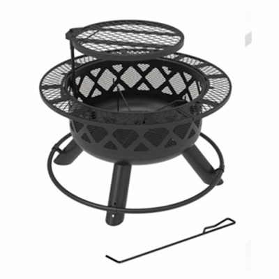 """Shinerich Industrial Ltd - Big Horn, 24"""", Ranch Fire Pit, With Deep Bowl, Black Powder Coated Finish"""