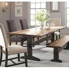 Bexley Collection 6 PC Dining Room Set with Dining Table   4 Beige Side Chairs   Bench in Natural Honey Finish