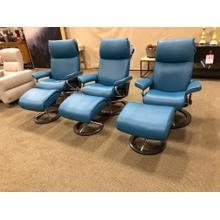 See Details - Aurora Stress less Recliners in Crystal blue--$300 Off ( starting at $3395) Stop in and see what we have in Stock !