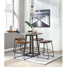 Showdell - Gray/Black - Round Counter Table and 4 Brown/Black Barstools