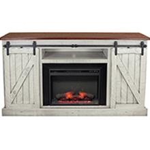 """View Product - Rustic Two Tone 68"""" Tall Provinvial Fireplace Console"""