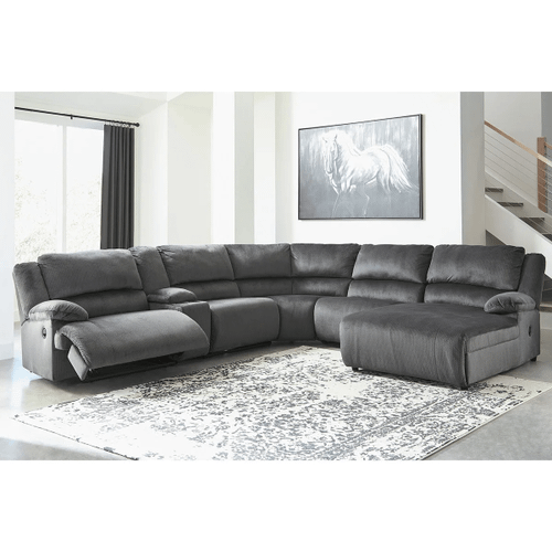 Clonmel - Charcoal - 2 Recliner Sectional with Pressback Chaise and Console
