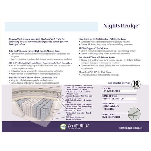 "NightsBridge - 15"" - Plush - Pillow Top"