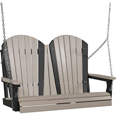 Adirondack Swing 4' Weatherwood and Black