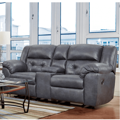 Affordable Furniture Manufacturing - Telluride Reclining Console Loveseat in Indigo      (1520,29007)