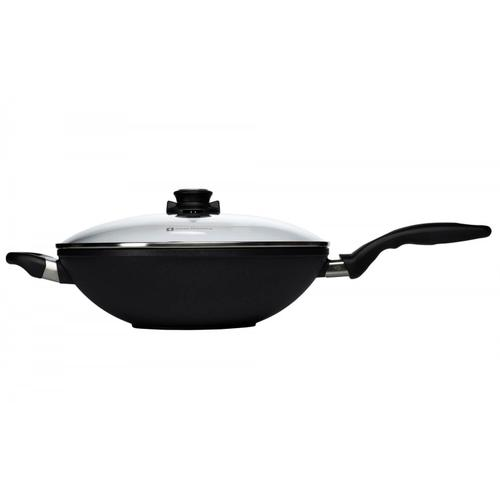 Swiss Diamond XD Induction Nonstick Wok with Lid and Rack 12.5-Inch, 5.3-Quart, Black