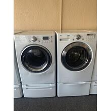 Refurbished  LG Front Load Washer Dryer Set on pedestals.  Please call store if you would like additional pictures. This set carries our 6 month warranty, MANUFACTURER WARRANTY AND REBATES ARE NOT VALID (Sold only as a set)