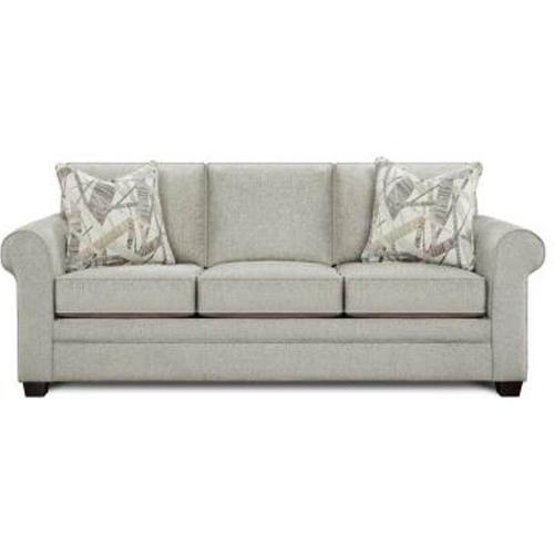 Fusion Furniture - Queen Size Sofa Sleeper in Anders Dove Fabric with Fine Line Industrial Pillows