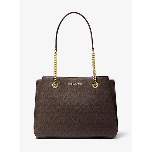 MICHAEL KORS Teagan Large Logo Shoulder Bag - Brown