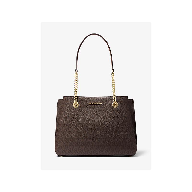 View Product - MICHAEL KORS Teagan Large Logo Shoulder Bag - Brown