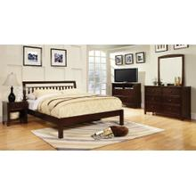 Eastern King Dark Walnut Bed with Slatted Headboard