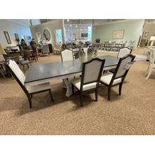 See Details - LONG DINING TABLE WITH ELEGANT UPHOLSTERED CHAIRS