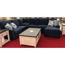 DOVELY SECT. Stationary Sofa - Fabric 21572C Indigo, Pillows 2 - 27252 Indigo, 2 - 21572B Haze - RAF Chaise, Armless Love, Wedge Console, LAF Love