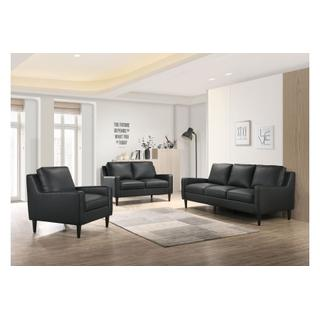 See Details - Lazio Black Leather Sofa and Loveseat