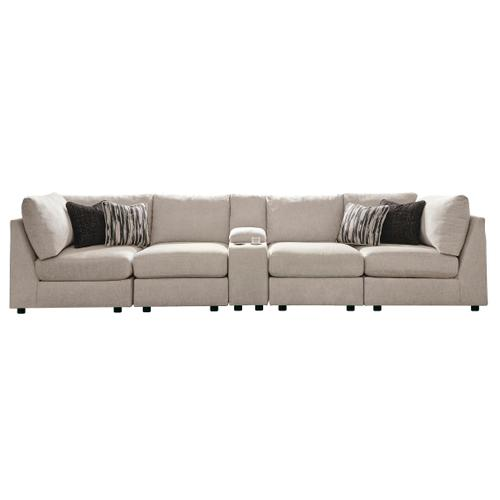 Kellway - Bisque - 5-Piece Sectional with Console