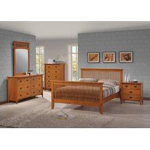 MISSION QUEEN BED FRAME - HONEY OAK