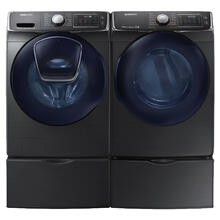 SAMSUNG  Add Wash 4.5 Cu.Ft. Front Load Washer 7.5 Cu.Ft. Electric Dryer with Pedestals - Black Stainless