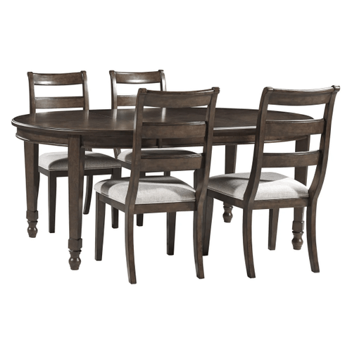 Adinton - Reddish Brown - 5 Pc. - Oval Extension Table & 4 Upholstered Side Chairs