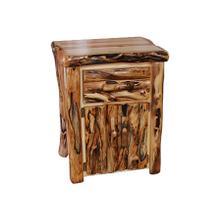 Tall 1 Drawer / 2 Door Nightstand Log Front Wild Panel Gnarly Log