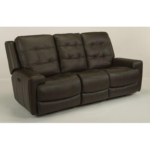 Flexsteel - Wicklow Leather Power Reclining Loveseat with Console and Power Headrests