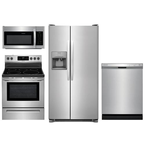 4 Piece Frigidaire Stainless Kitchen Package with Electric Range