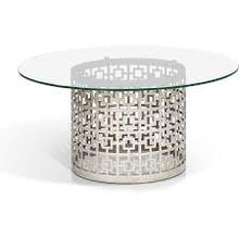 See Details - Round Glass Top Brushed Metal Base
