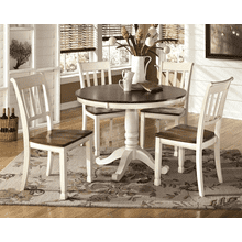 Whitesburg - Brown/Cottage White - 6 Pc. - Round Table & 4 Side Chairs