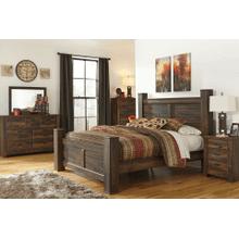 Quinden- Dark Brown- Dresser, Mirror, Chest, Nightstand & King Poster Bed