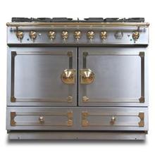 """CornuFe 110 cm Dual-Fuel Range (43"""")- Stainless Steel w/ Satin Chrome & Polished Brass Trim"""