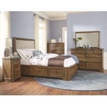 RGB Stonewood CalKing Manor Upholstered Storage Bed Rustic Glazed Brown Finish