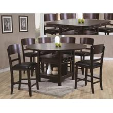 Conner 7 Pc Espresso Counter Height Dinette Set w/Lazy Susan Table by Crown Mark, Model 2849